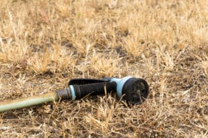 Garden Hose Laying in Dry Grass California Drought